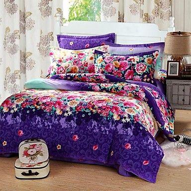 shuian® dekbedovertrek set, schuren 4 delig pak 100% twill puur katoen comfortabele eenvoudige moderne bedden - EUR € 121.61