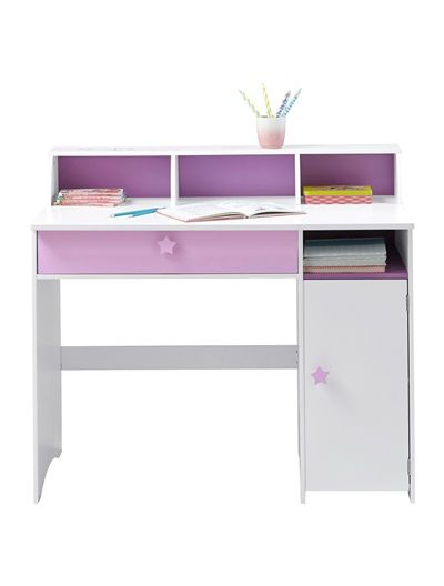 grand bureau fille blanc th me f e blanc violet. Black Bedroom Furniture Sets. Home Design Ideas