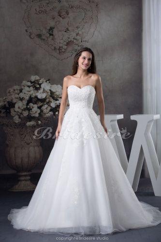 A-line Sweetheart Chapel Train Sleeveless Organza Wedding Dress - $218.99