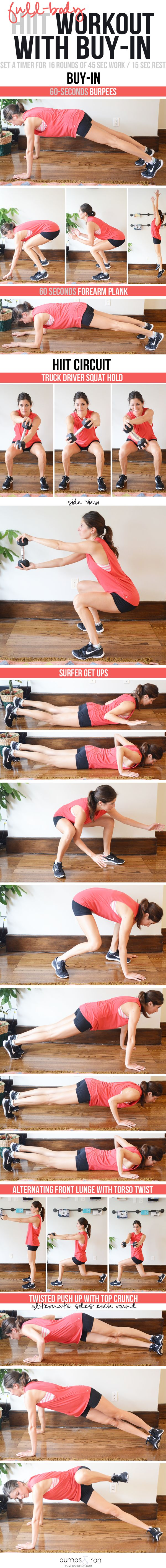 Full-Body HIIT Circuit Workout with a Buy-In   You'll just need one medium dumbbell or medicine ball