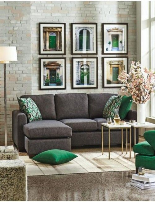 a grey living room can look too boring and impersonal and adding different hues of greens to it makes a whole lot of difference