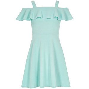 Girls light green ruffly bardot skater dress