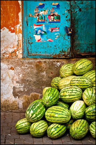 Pile of watermelons at street market in Marrakech - Maroc Désert Expérience tours http://www.marocdesertexperience