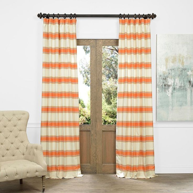 EFF Tyler Horizontal Striped Jacquard Faux Silk Window Curtain