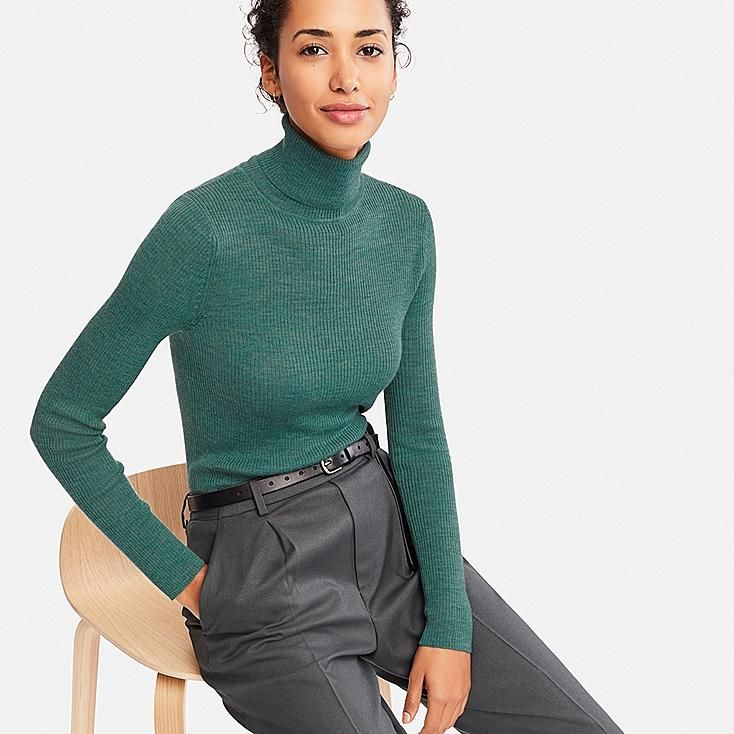 Womens Casual Polo Turtle Neck Long Sleeve Fine Knit Pullover Knitted Jumper