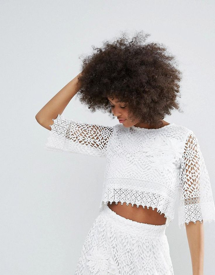 Buy it now. Darling Crochet Lace Cropped Top - White. Top by Darling, Crochet lace, Partially lined, Crew neck, Cropped length, Regular fit - true to size, Hand wash, 100% Cotton, Our model wears a UK 8/EU 36/US 4 and is 176cm/5'9.5 tall. London based designers, Darling, offer a timeless approach, combining quintessential English design with unique detailing and affordable luxury. Look to lace edging and crochet trims to add a distinct sense of vintage femininity, as intricate pearl beading…
