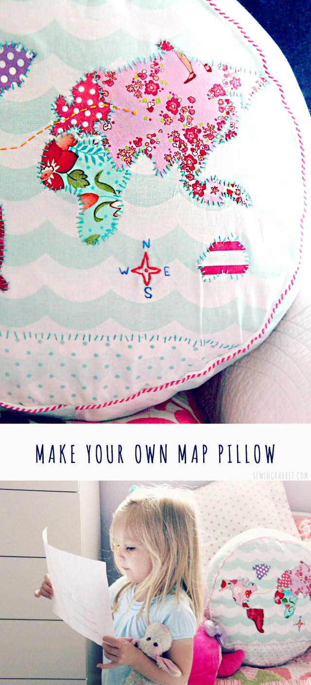 Make your own Map Pillow- I think I need one of these for the house!