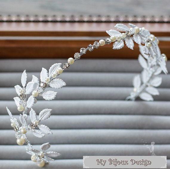 White Wedding HeadpieceWhite Leaf Bridal Hair by MyBijouxDesign