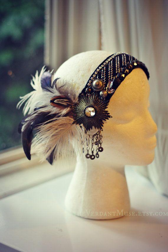 Assuit Headdress- Aflutter - Assiut, Tribal Fusion Headpiece, Belly Dance, Tribal Bellydance, Feather, Vaudeville, Performance, Festival Assiut - Assuit - Asyut - Tulle Bi Telli