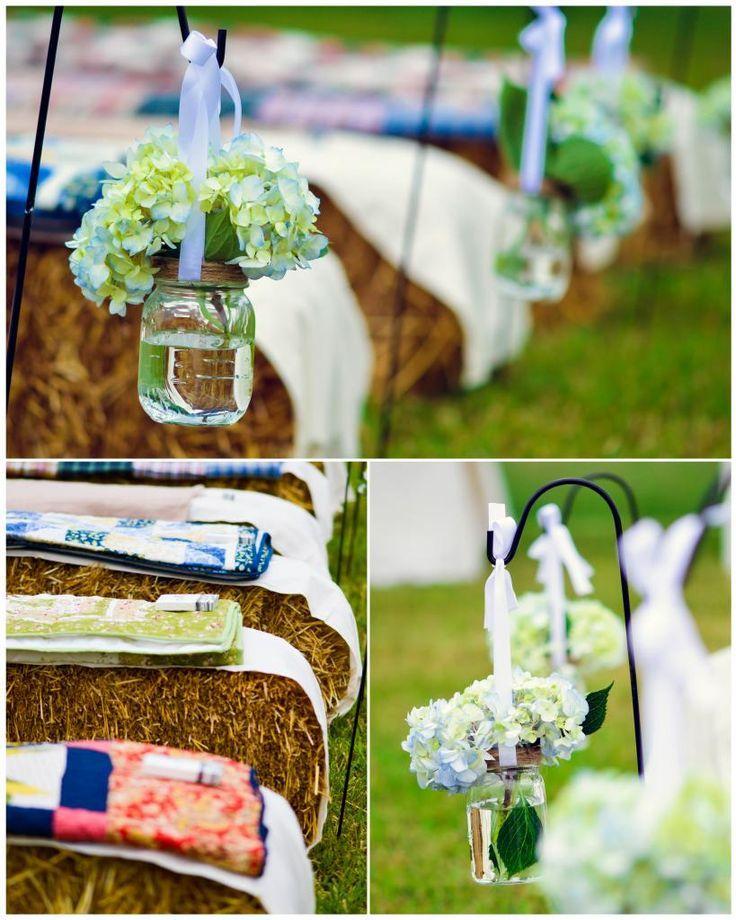 hay bail wedding seating | Mason Jar down the isle, hay bale seating C & S Wedding | Shannon ...