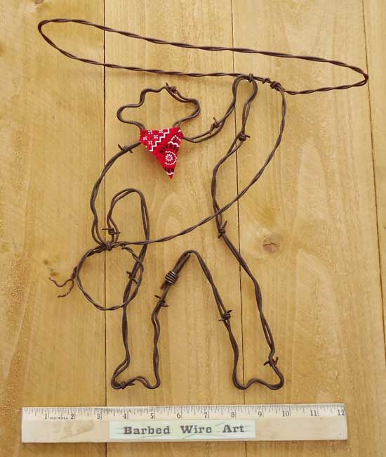 handmade art out of barb wire | Barbed Wire Art ~ Country Western Cowboy Horse Farm and Ranch Wall ...