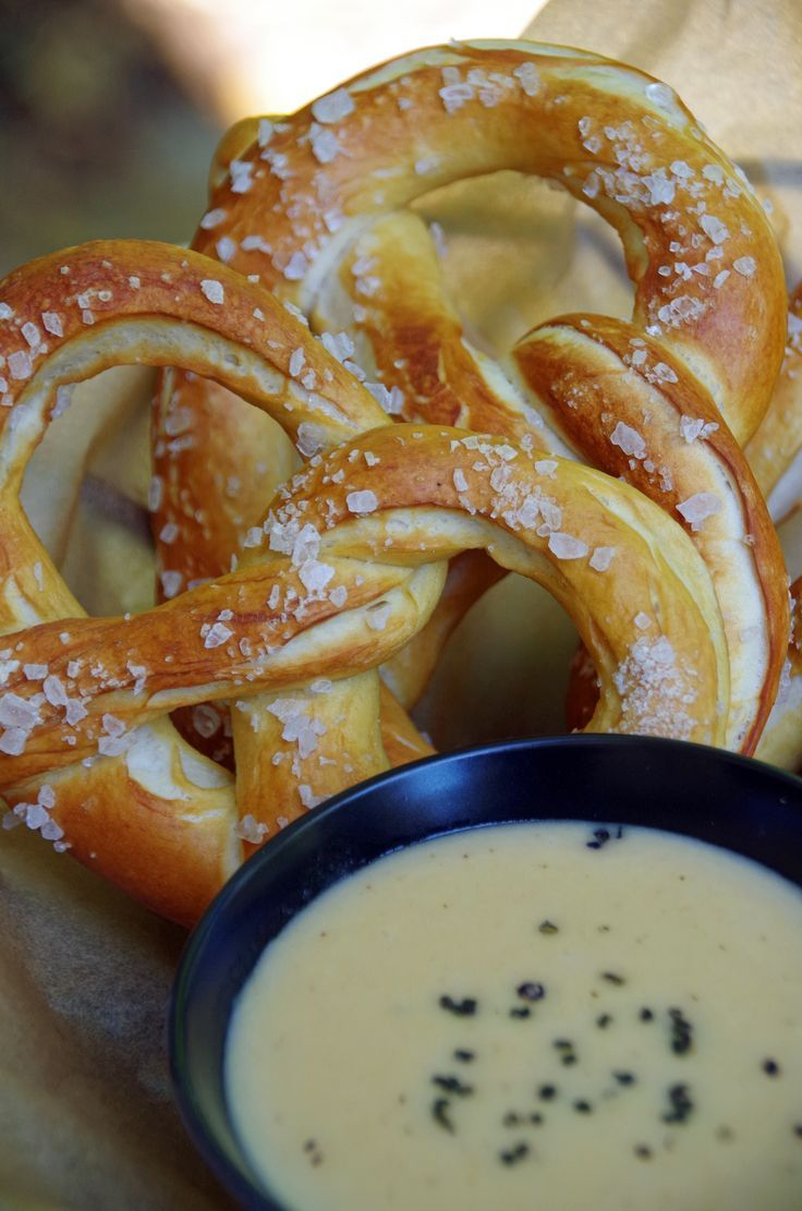 Chewy and salty homemade pretzels with a  beer cheese dipping sauce.