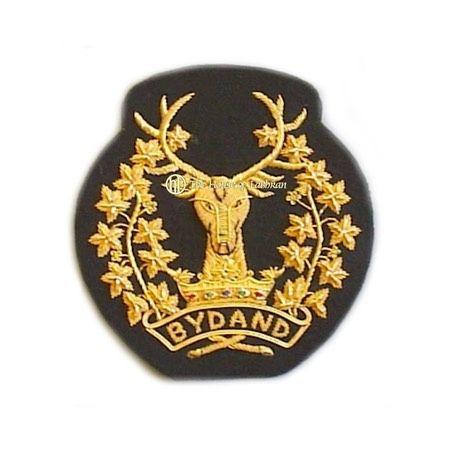 Scottish 92nd Gordon Highlanders pipe majors stag  head Bydand insignia sleeve badge