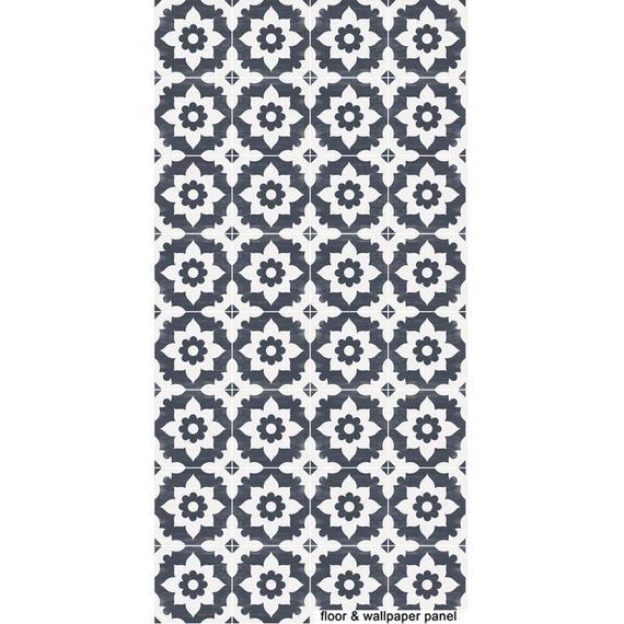 Tiles For Kitchen Bathroom Back Splash Floor Decals Encaustic Campagne Vinyl Tile Sticker Pack In Navy Floor Decal Floor Stickers Vinyl Tile