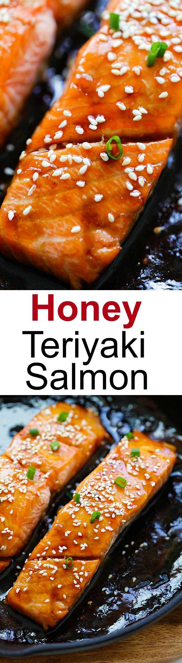 Honey Teriyaki Salmon – sticky sweet, savory salmon with honey teriyaki sauce. Cooks in a skillet or baked in oven. Dinner takes 10 mins | rasamalaysia.com
