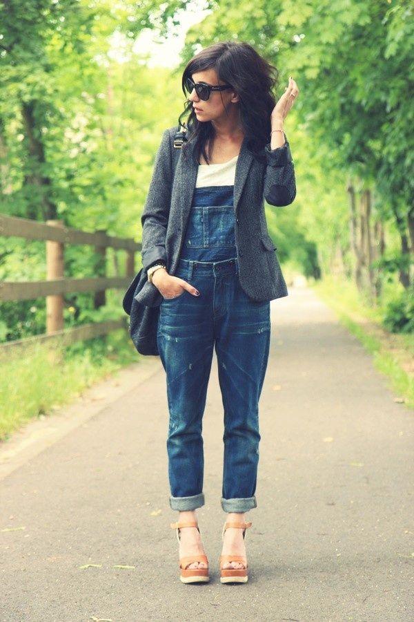 denim overalls and tweed jacket