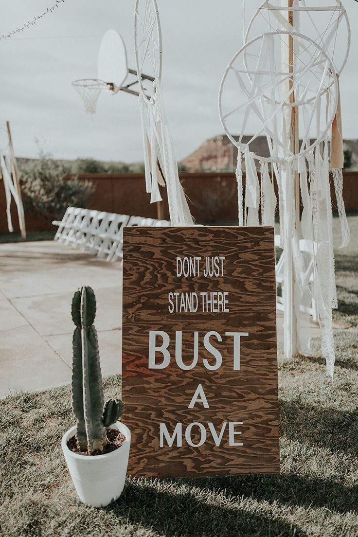 dance floor DIY sign  #bohowedding #backyardwedding See more:  https://ruffledblog.com/backyard-bohemian-wedding