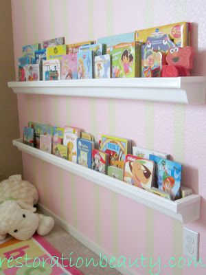 Rain Gutter Book Shelves - DIY Home Decor Project - Cheap and Easy from restorationbeauty.com