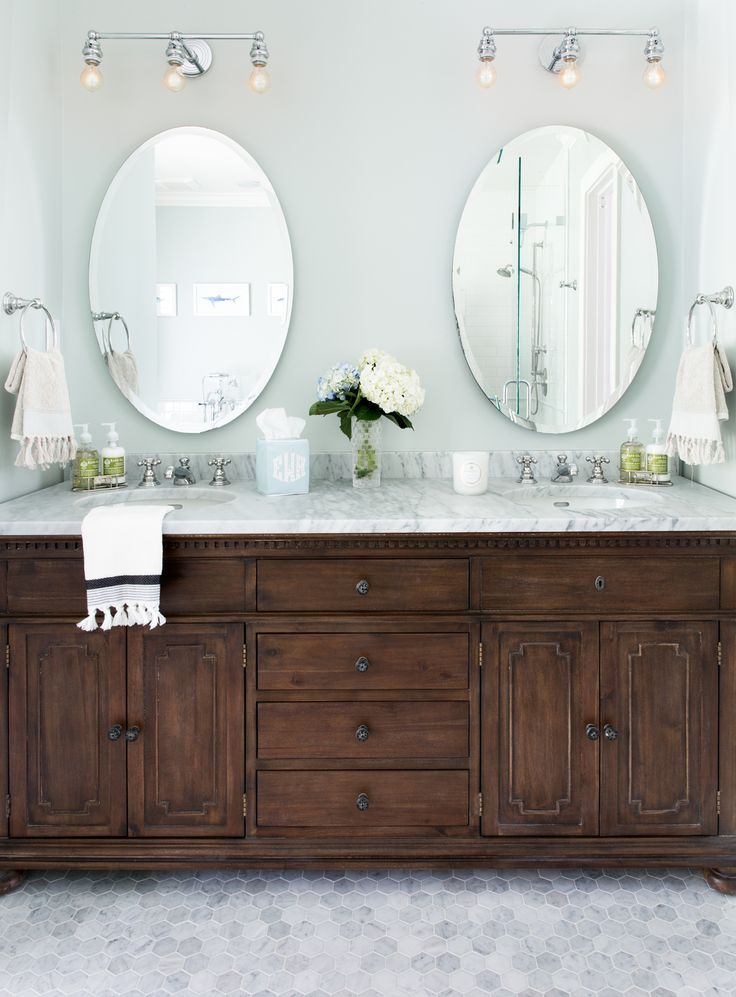 Make Photo Gallery Mixing the old and the new in this bathroom design Jennifer Barron Interiors Dark Cabinets BathroomDark Vanity