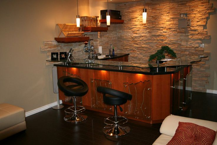 Custom Bar With Raised Glass Countertop And 3 Quot Thick