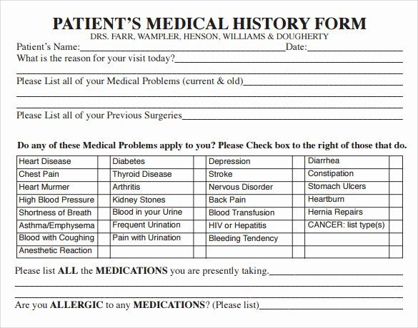 Patient Medical History Form Template Beautiful 14 Medical