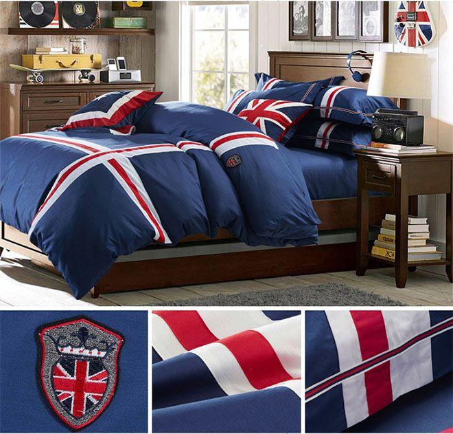 2015 Home Textile 100% cotton Blue UK flag bedding set designer's beddings set 4 pcs western bed sheet/duvet cover king/queen