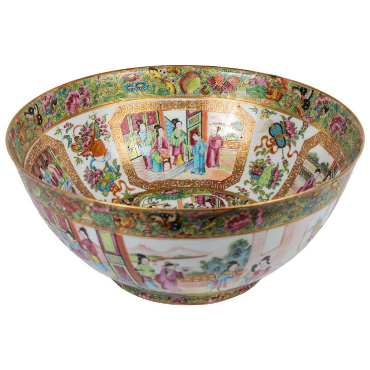 19th Century Chinese Canton Punch Bowl | From a unique collection of antique and modern ceramics at https://www.1stdibs.com/furniture/asian-art-furniture/ceramics/