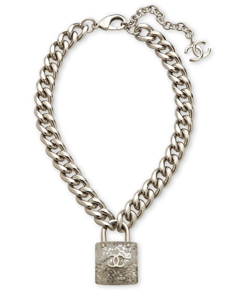 A runway silver bead & glass pearl padlock necklace #chanel