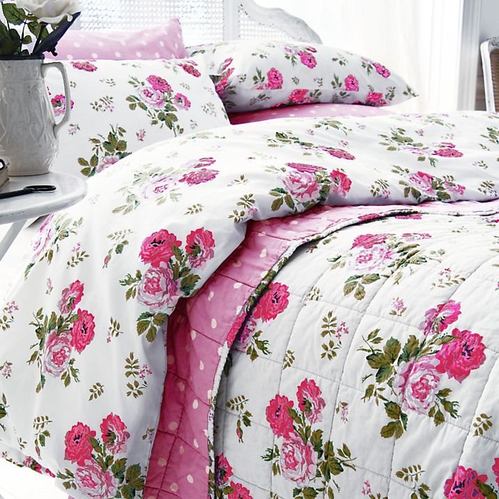 Buy Cath Kidston Antique Rose Bouquet Standard Pillowcase, Red / Pink Online at johnlewis.com