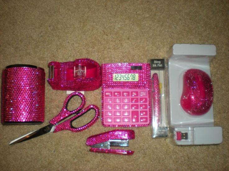 Hot pink 7 piece lot rhinestone office supplies lqqk - Girly office desk accessories ...