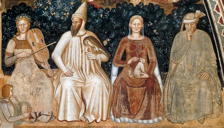 "Detail, Fresco from Santa Maria Novella in Florence,""Way of Salvation"",1365-68. Andrea di Bonaiuto."