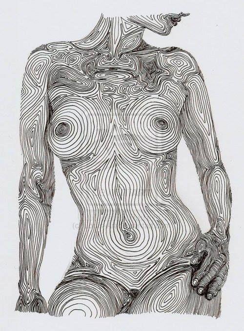 Ce nu tracé en lignes qui comprend vraiment les courbes du corps de la femme. La femme ressemble à un arbre fendu.  This nude drawn in lines that really understands the curves of woman's body. The woman resembles a split tree.