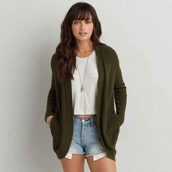 AEO Cocoon Cardigan (71 AUD) ❤ liked on Polyvore featuring tops, cardigans, olive green, olive tops, cocoon cardigan, american eagle outfitters, oversized tops and over sized cardigan
