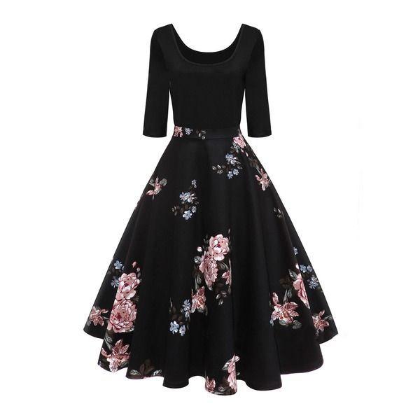 Floral Peasant Half Sleeve Midi A Line Dress 1955330439 Fashionclothing Kisa Elbise 1950 Lerden Vintage Elbiseler Elbise Tarzlari