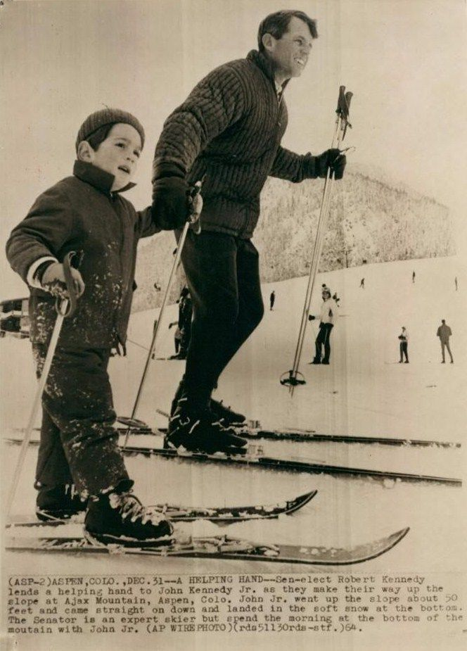 Bobby Kennedy and nephew John Kennedy Jr. in Aspen, Colorado, December 31, 1964.