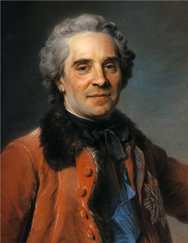 Maurice Quentin de La Tour(1704-1788) FR. 'Maurice of Saxony' 1748 Rococo  Genre: portrait Technique: pastel on canvas 49 x 59.5 cm: Gemäldegalerie Alte Meister, Dresden, Germany