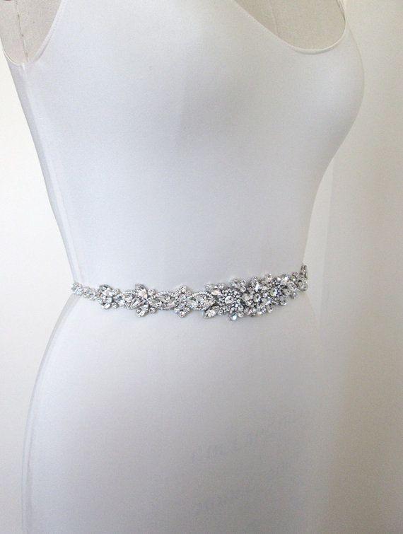 Wedding belt, Bridal belt sash, Crystal belts sashes, Grosgrain ribbon belt, Bridal beaded rhinestone belt