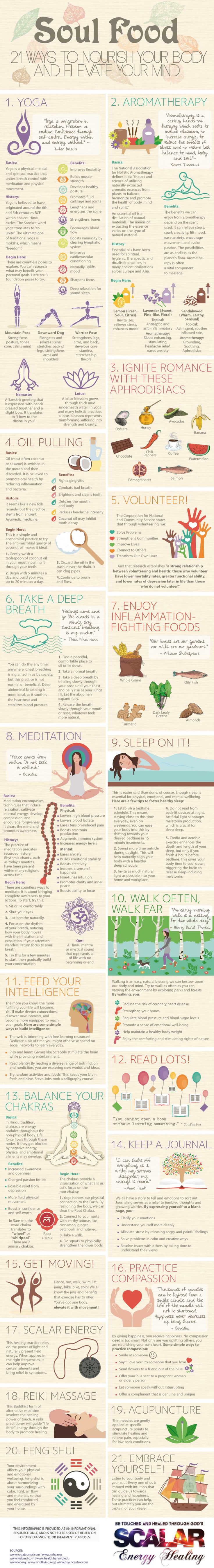 21 Ways to Nourish Your Body and Elevate Your Mind #infographic #health #Yoga / 21 modi per nutrire il tuo corpo ed elevare la tua mente #infografico #salute #Yoga