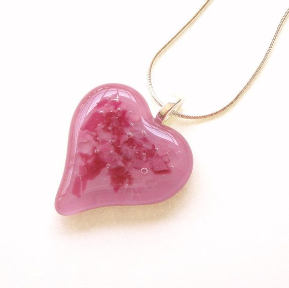 Pretty Pink Fused Glass Heart Necklace.