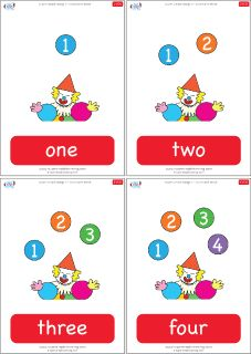 Number flashcards from 1 to 20 - How many balls is the clown juggling? Practice the numbers 1-20 with these fun, clown-themed flashcards!