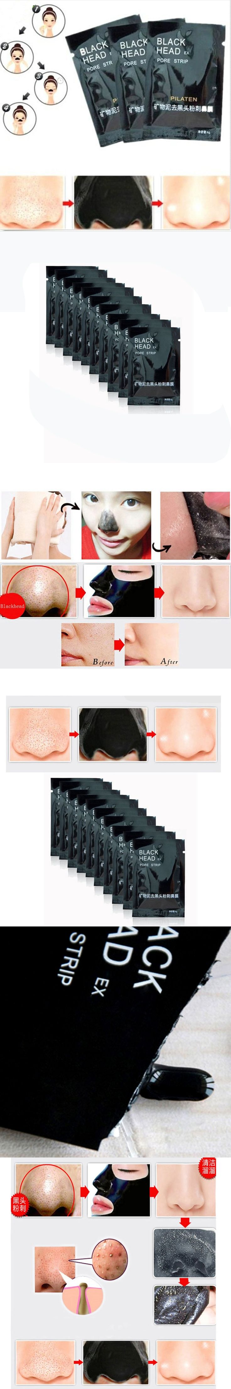 5pcs Blackhead Face Mask Remover Nose Black Mask  Mud 6g Deep Cleansing Acne Treatment Black Head Pilaten