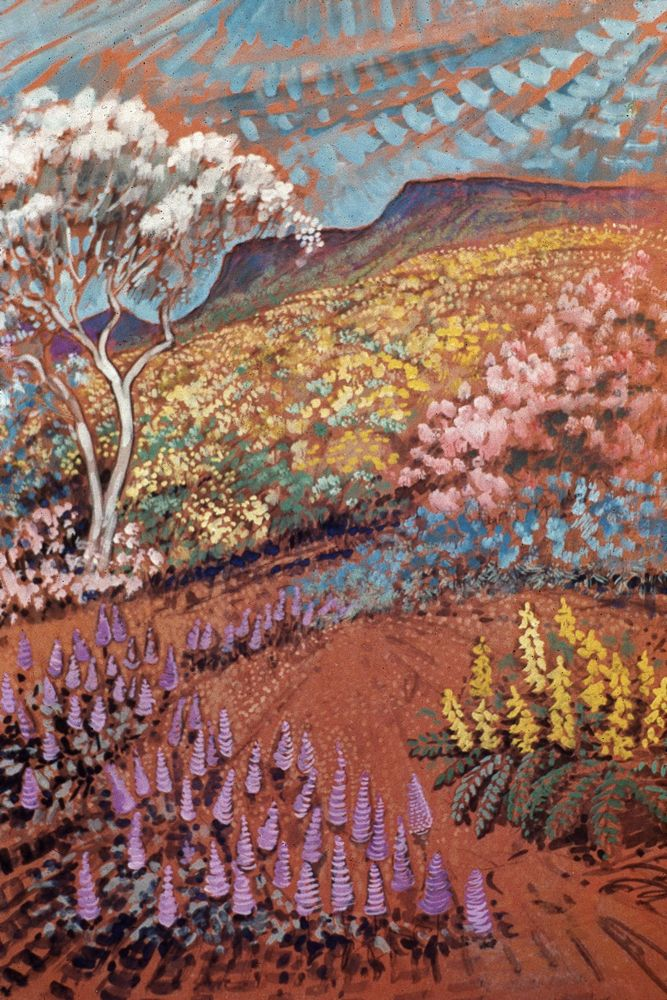 The dancing flowers of spring, 1976, Elizabeth Durack, gouache on paper, 55 x 44cm, private collection
