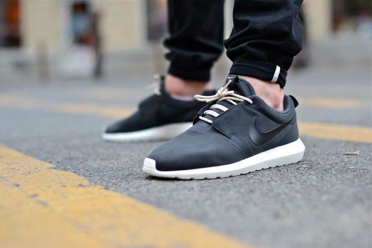 Casual Men Leather Black Green Sports Shoes In Store Nike Roshe Run Shoes Discount Germany