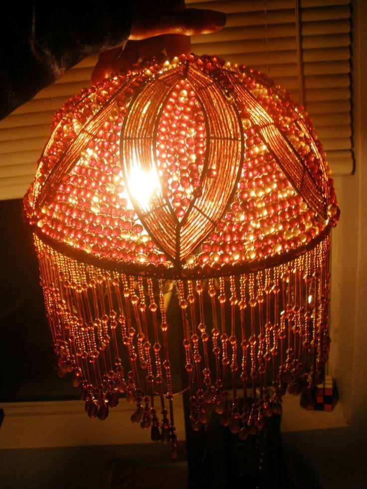 The 25 best beaded lamp shades ideas on pinterest bohemian lamp awesome vintage decobeaded lamp shadebrowncopper beadsbeaded fringe aloadofball Gallery