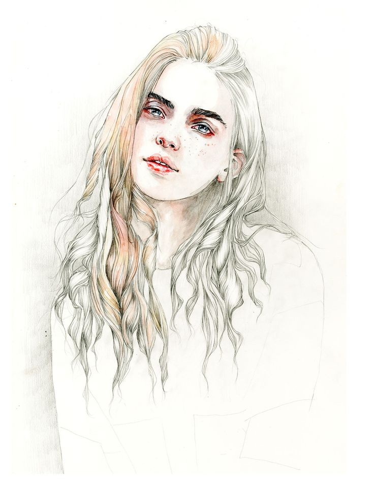 Loving the way the hair is depicted in this #watercolor portrait by Dutch #artist Robyn Pees