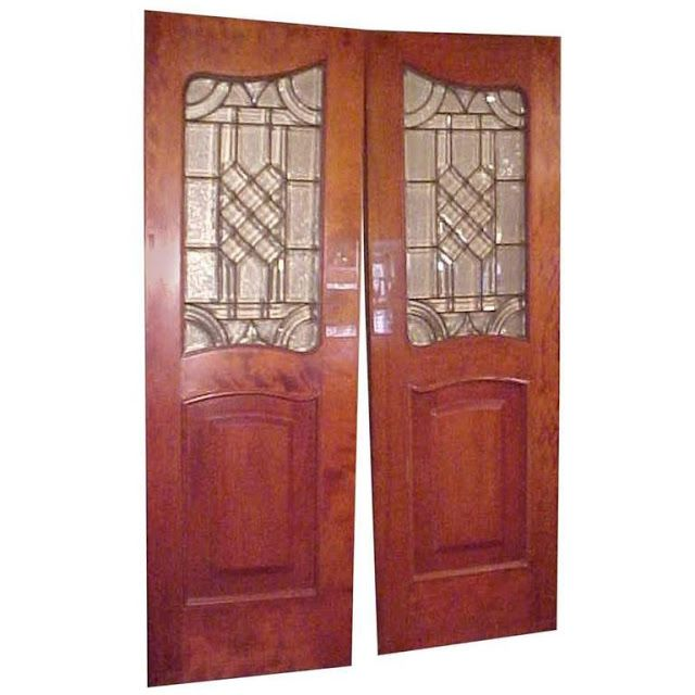 The Holistic Green Garden: Antique Leaded Glass Inset in Mahogany Raised Panel Doors