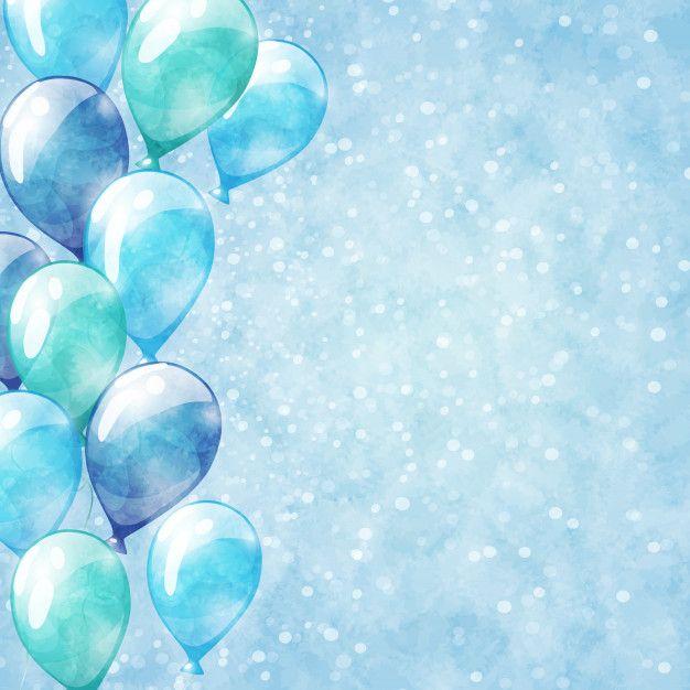 Blaue Ballone Hintergrund Mit Aquarell Premium Vector Freepik