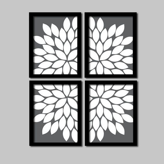 Bold Charcoal Grey and White Flourish Design Artwork Set of 4 Prints  Gerbera Daisies Flowers Bedroom Wall Decor Floral Art Pictures