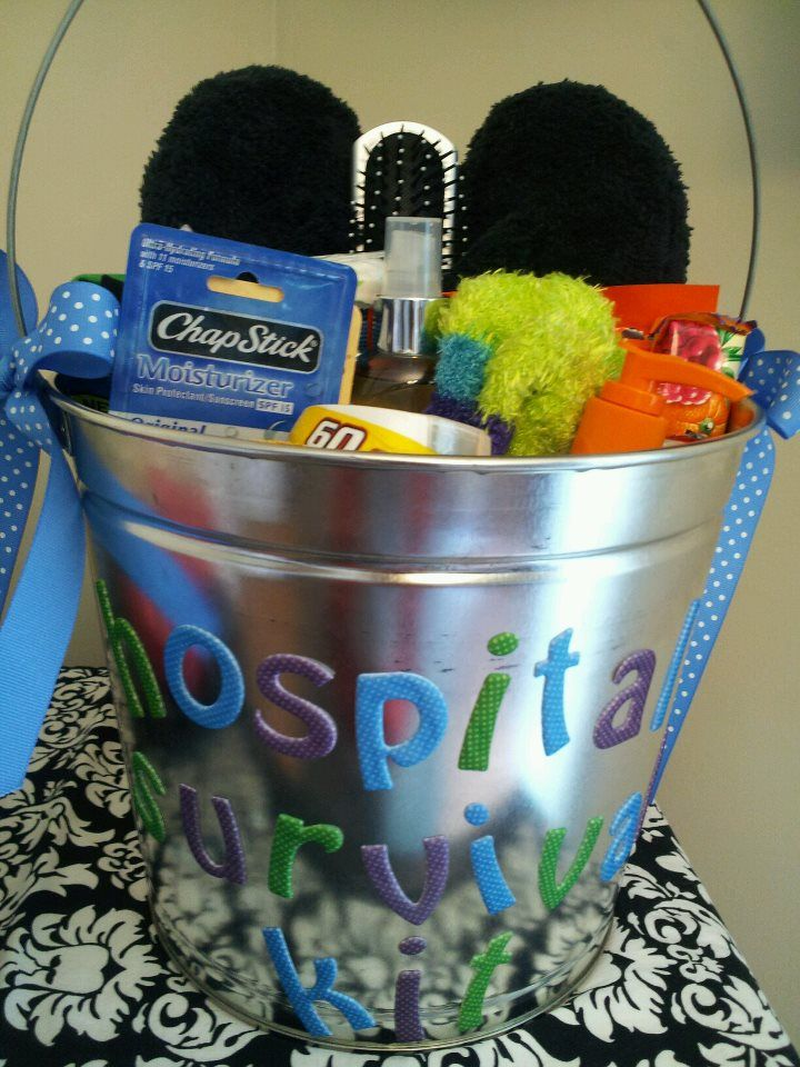 HOSPITAL SURVIVAL KIT! made this for a pregos friend...but could be given to someone stuck in the hospital for an extended period. Included gum, bruch, fuzzy socks, slippers, chocolate, chapstick, face wipes, body spray, mints, stand alone mirror, etc...