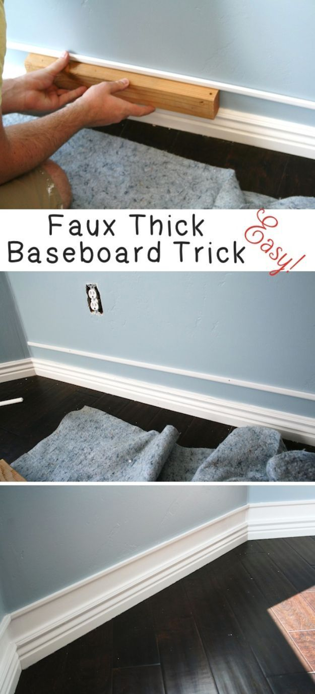 DIY Home Improvement On A Budget - Faux Thick Baseboard - Easy and Cheap Do It Yourself Tutorials for Updating and Renovating Your House - Home Decor Tips and Tricks, Remodeling and Decorating Hacks - DIY Projects and Crafts by DIY JOY http://diyjoy.com/diy-home-improvement-ideas-budget